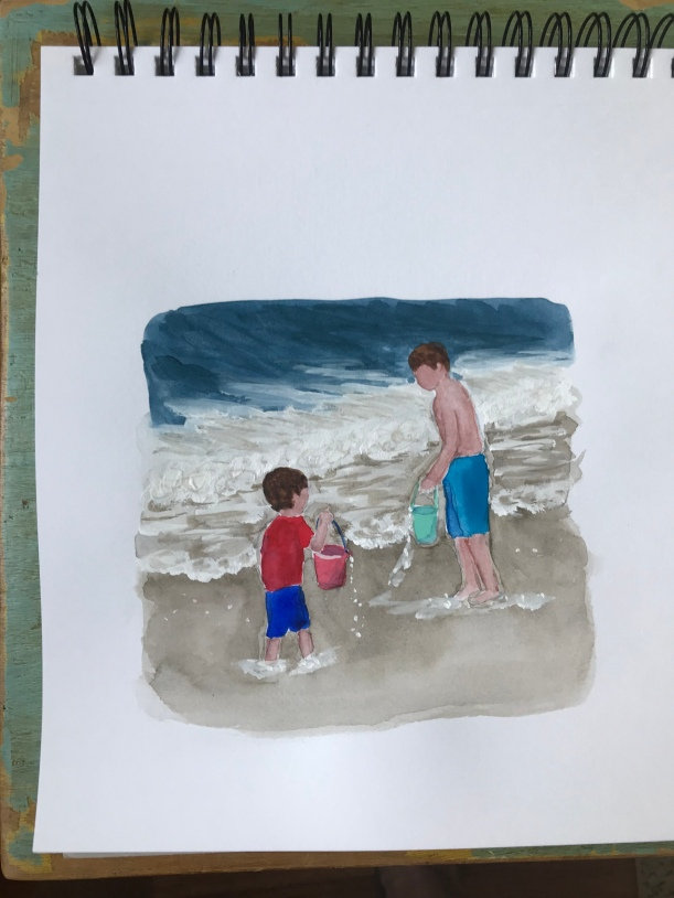Watercolor sketch boy filling bucket by the ocean