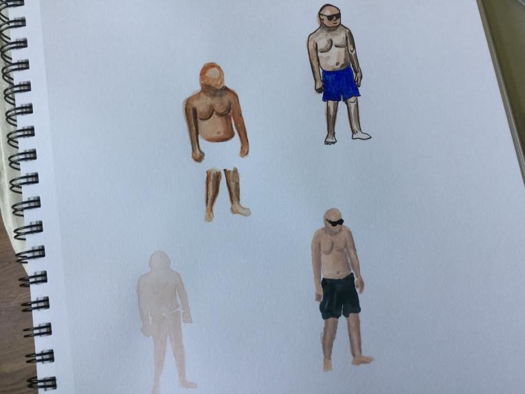 Practicing figures in watercolor
