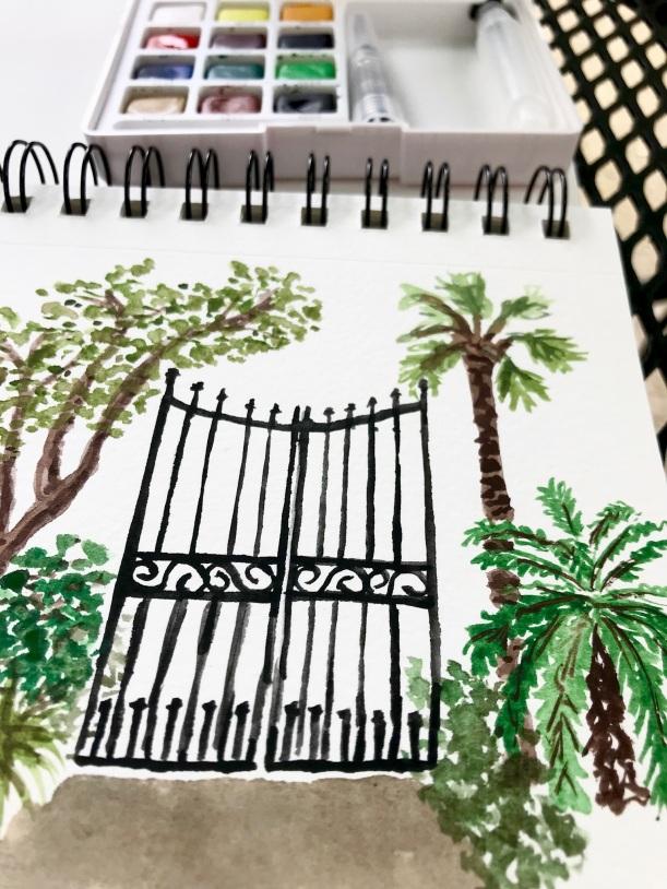 Secret garden watercolor illustration