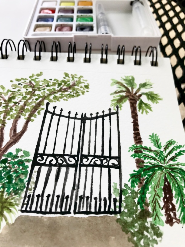 Secret garden watercolor illustration