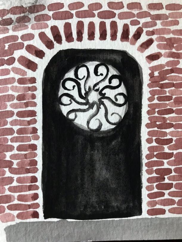 Ironwork door watercolor illustration