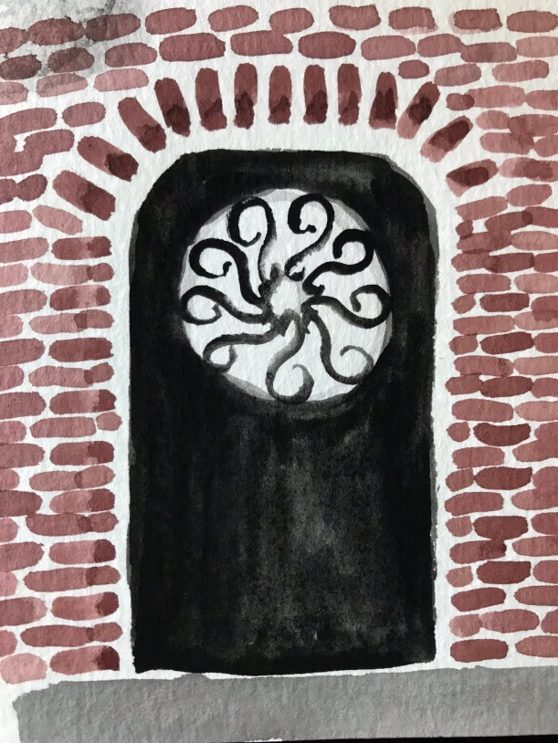 Ironwork door watercolor illustration