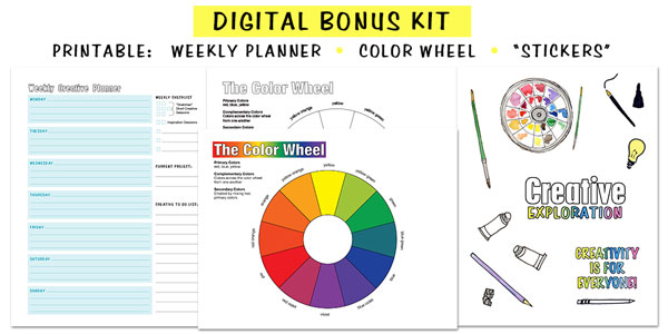 Creative Freebies - weekly creative planner color wheel printable stickers Creative Exploration ebook