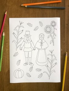 Pilgrim coloring page fun Thanksgiving activity for kids