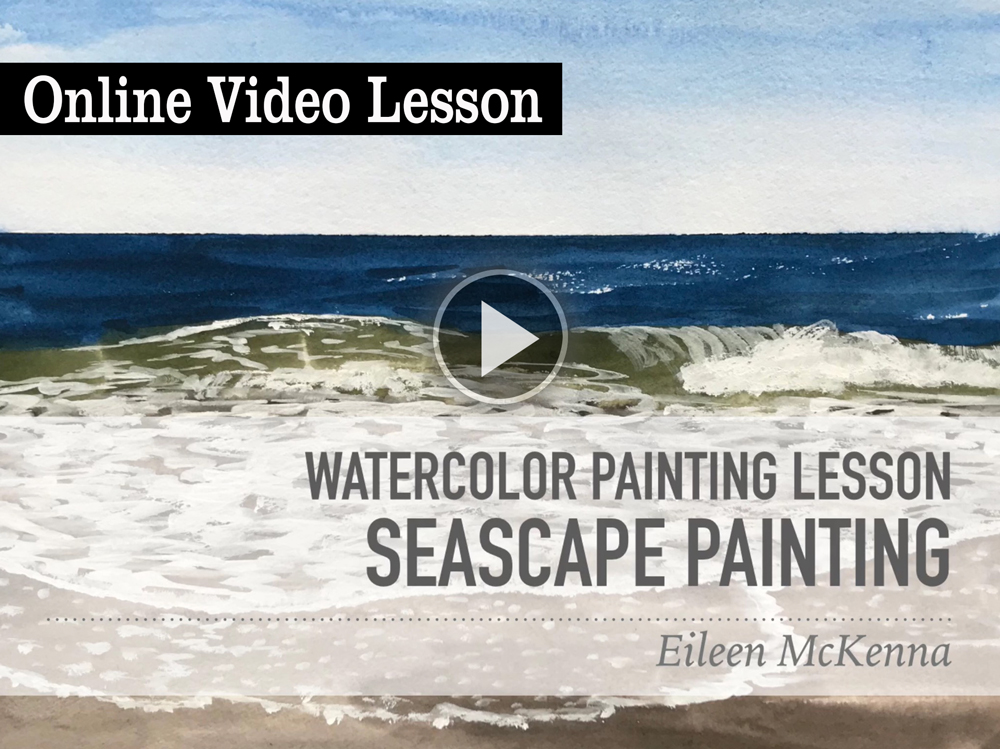 Easy Watercolor Seascape online video lesson for beginners