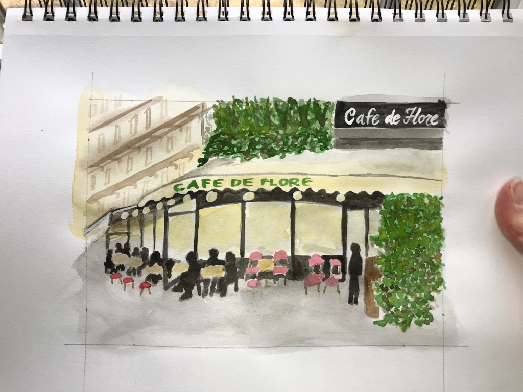 Cafe de Flores Paris France watercolor sketch