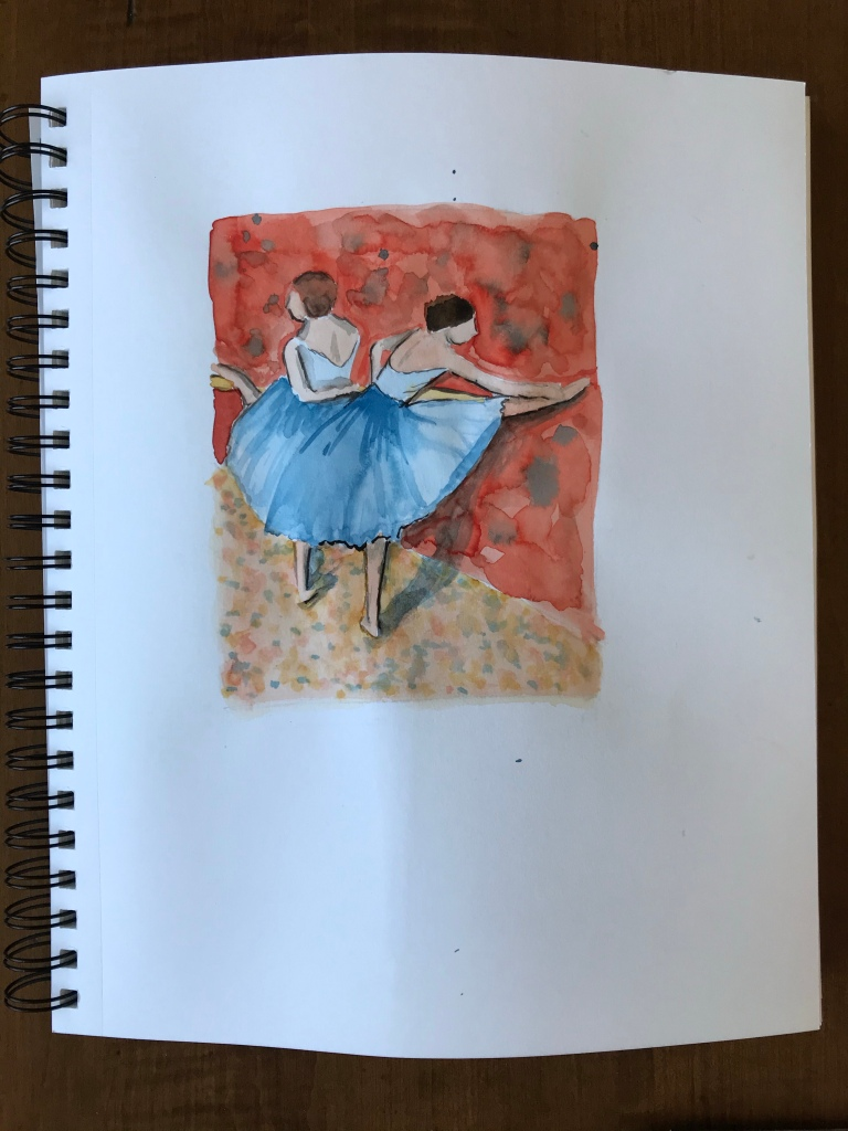 Watercolor painting by Eileen McKenna inspired by Degas | Degas's dancers