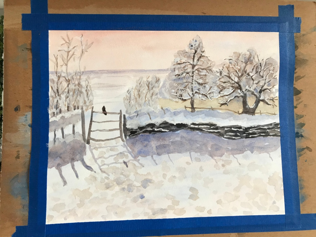 Quarantine inspiration painting Monet's winter palette in watercolor