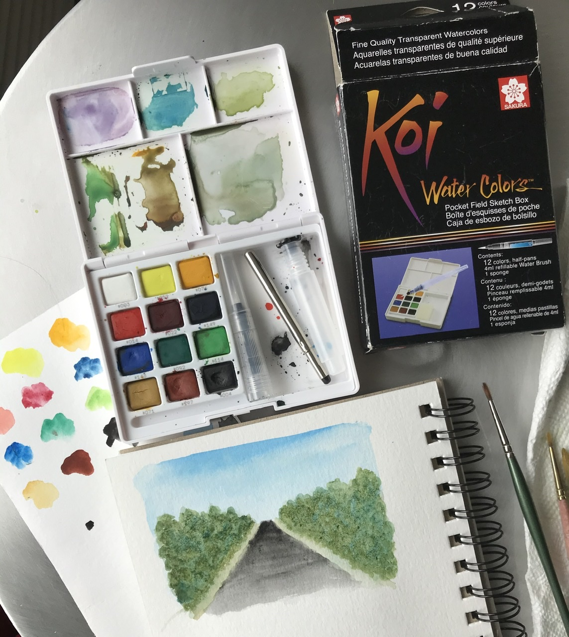 Painting on the road - travel watercolor set