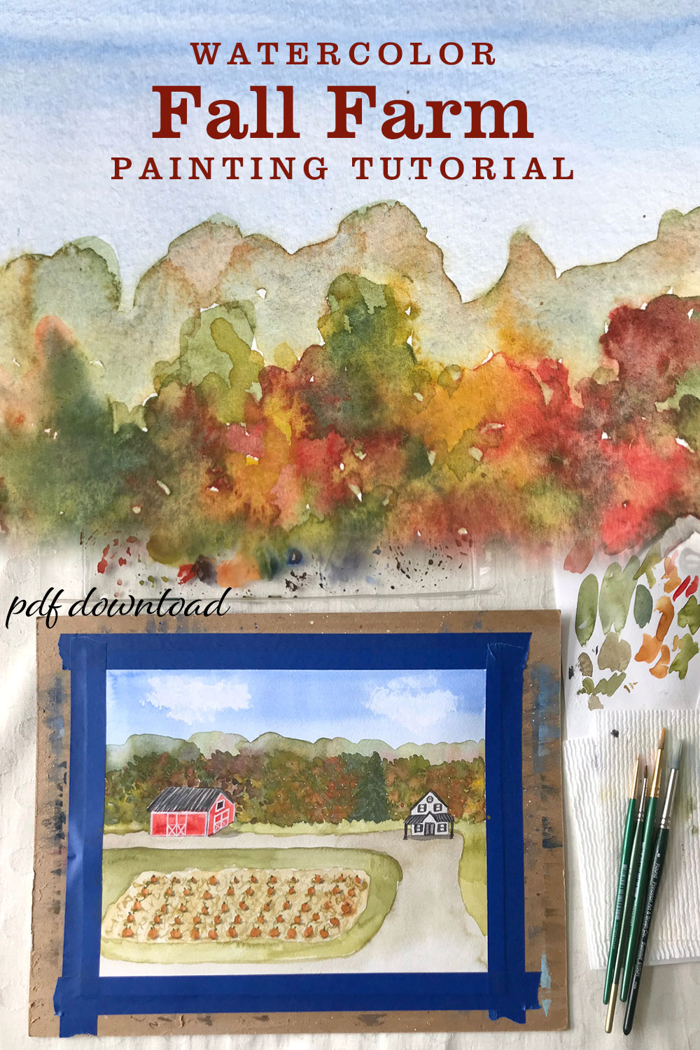 Fall Painting Idea Watercolor Fall Farm with Pumpkins Tutorial