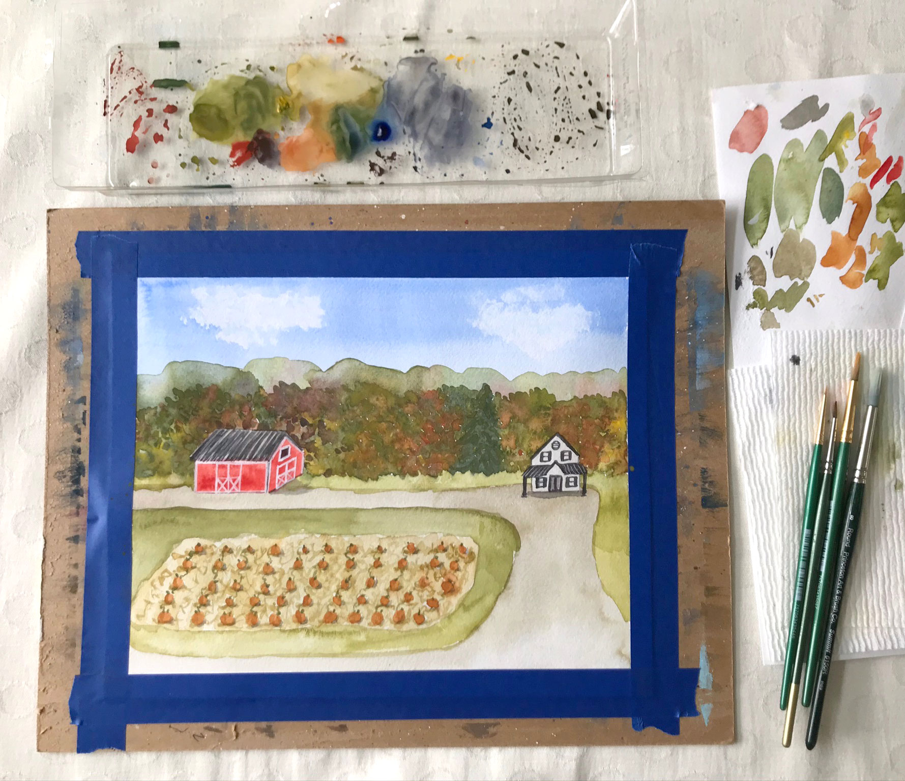 Fun step by step watercolor painting project for fall