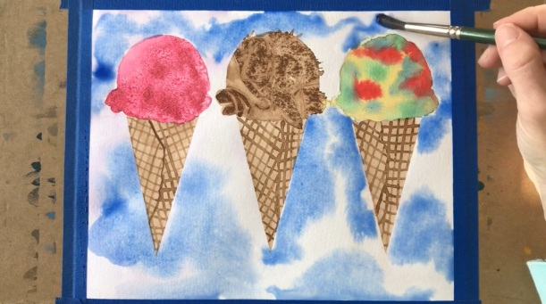 Easy Painting Idea for Beginners - Ice Cream Cones