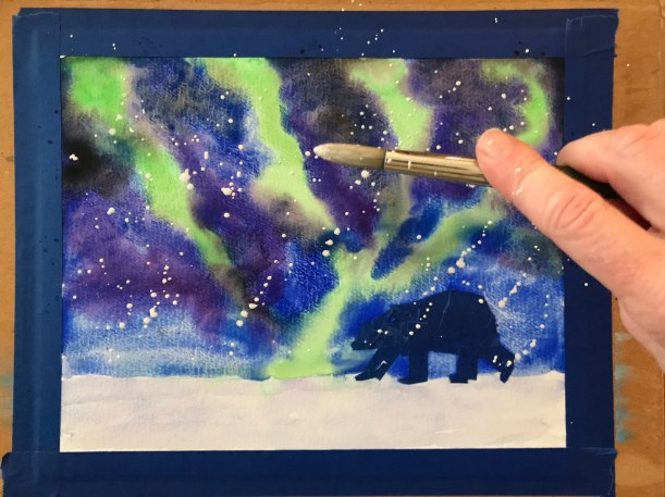 Beginner Painting Idea for Winter - Northern Lights