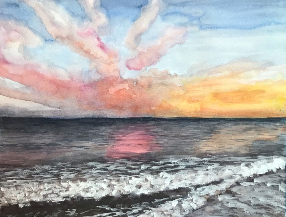 Watercolor Sunset Painting by Eileen McKenna