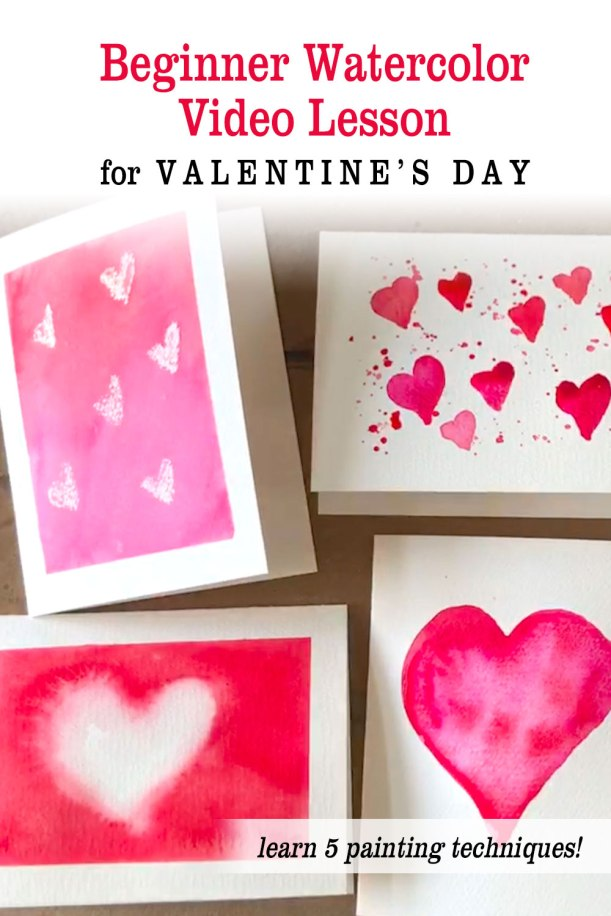 Easy Watercolor Valentine's Day Cards for Beginners Painting Lesson