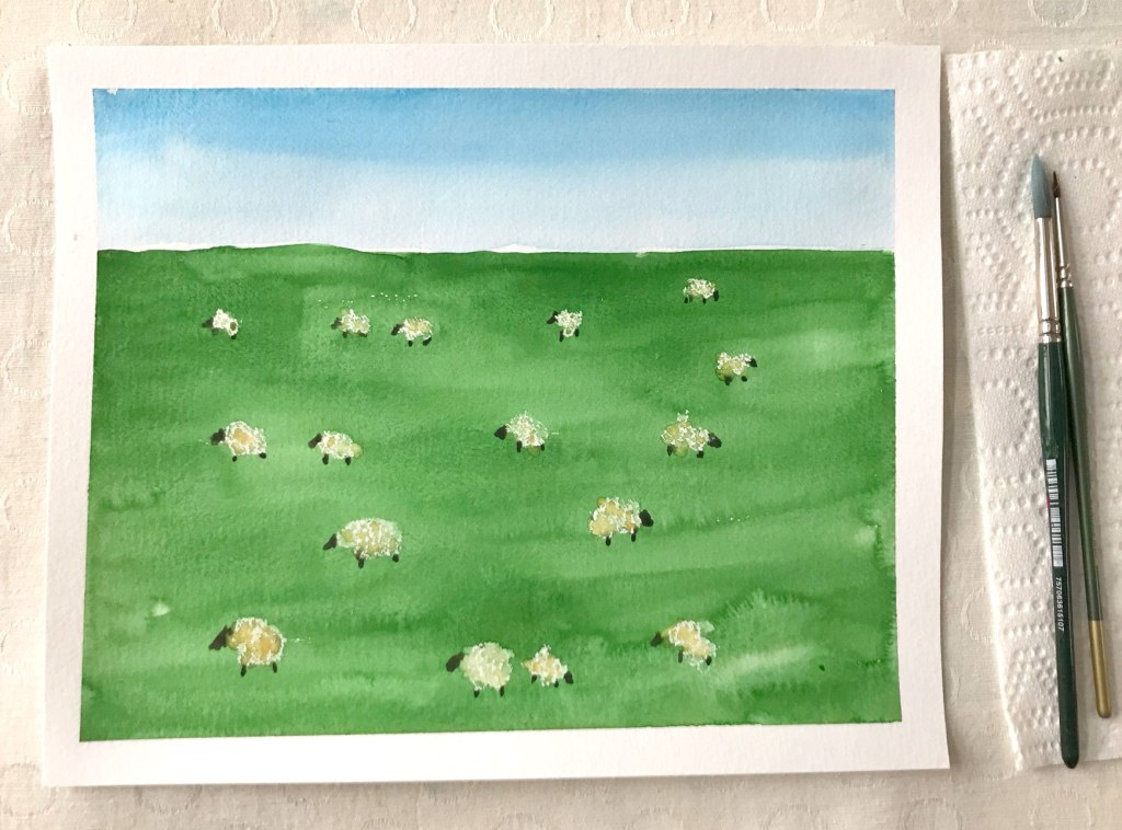 St. Patrick's Day painting project - paint an Irish landscape with sheep in watercolor. Beginner friendly.